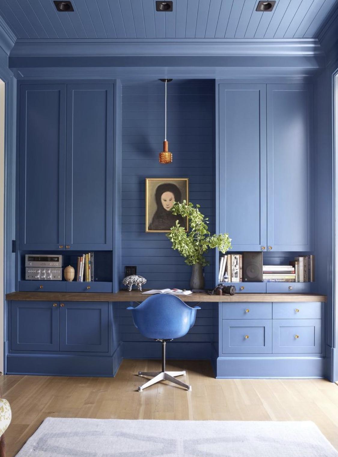 biroul de acasă living albastru