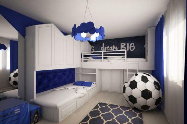 apartament colorat dormitor albastru